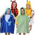 Nueva llegada muchachas de los bebés de baño towel encantador de la historieta de los animales towel para babie súper suave y absorbente de algodón con capucha capa paño