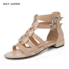 Women Sandals Summer 2019 Hing Heel Sandalias De Verano Para Mujer Block Heel Shoes Genuine Leather Gladiator Sandals Women недорго, оригинальная цена
