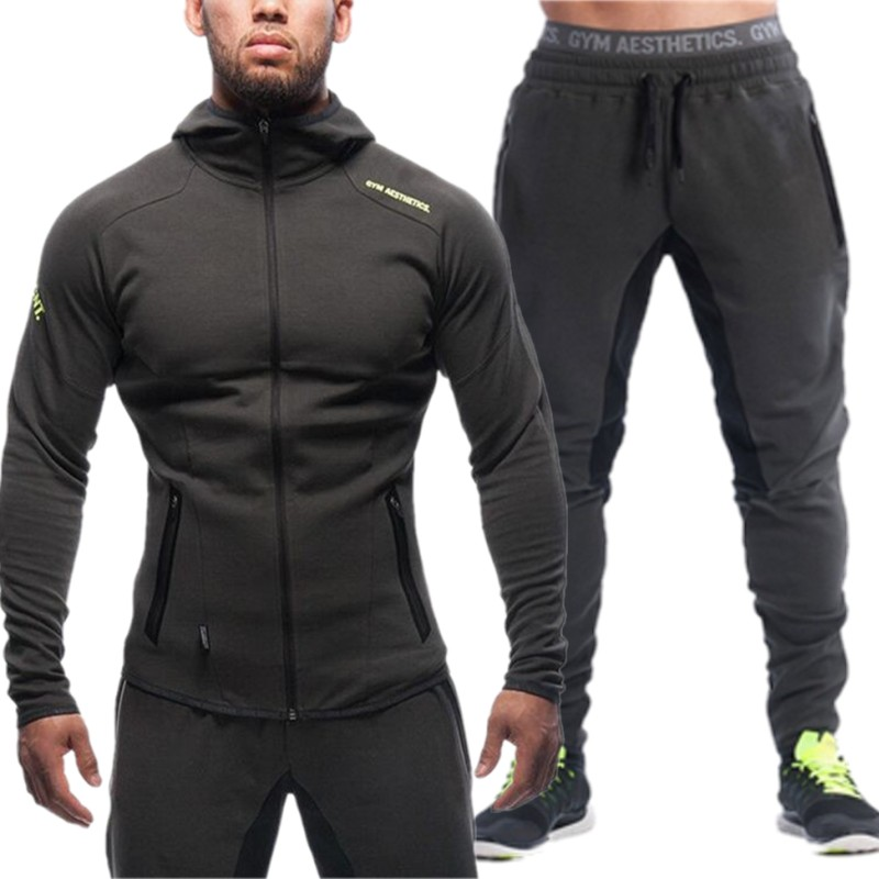 2018 New Spring Men Sets Lined Sweatshirt + Pants Male Tracksuit Warm Sporting Suits Men's Sportswear 2 Piece Suit