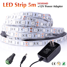 2016 Sale RGB LED Strip +12V Power Adapter Flexible Lights SMD5050 5M 300 LED Light Lampada Tape Ribbon Non Waterproof NEW