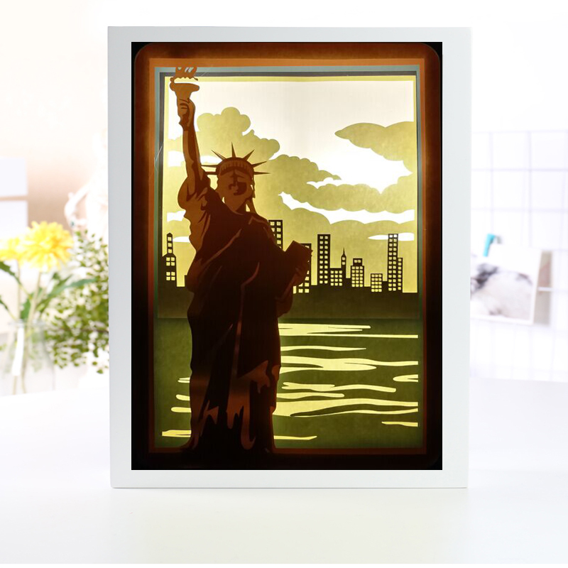 The Statue of Liberty 3D Papercut Light Boxes Paper Lantern Baby Night Light Lamp of Creative Light Paintings Famil