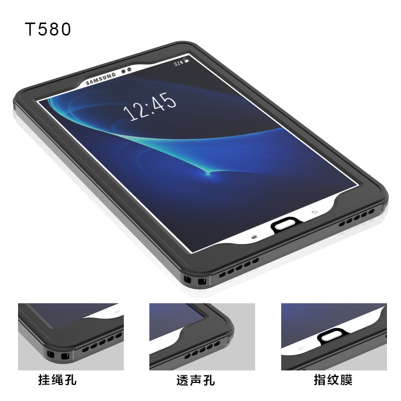 Waterproof Case For Samsung Galaxy Tab A6 10 1 T580 Case TPU+PC Waterproof  Cover For SM-T580 Tablet 360 Degrees Transparent Case