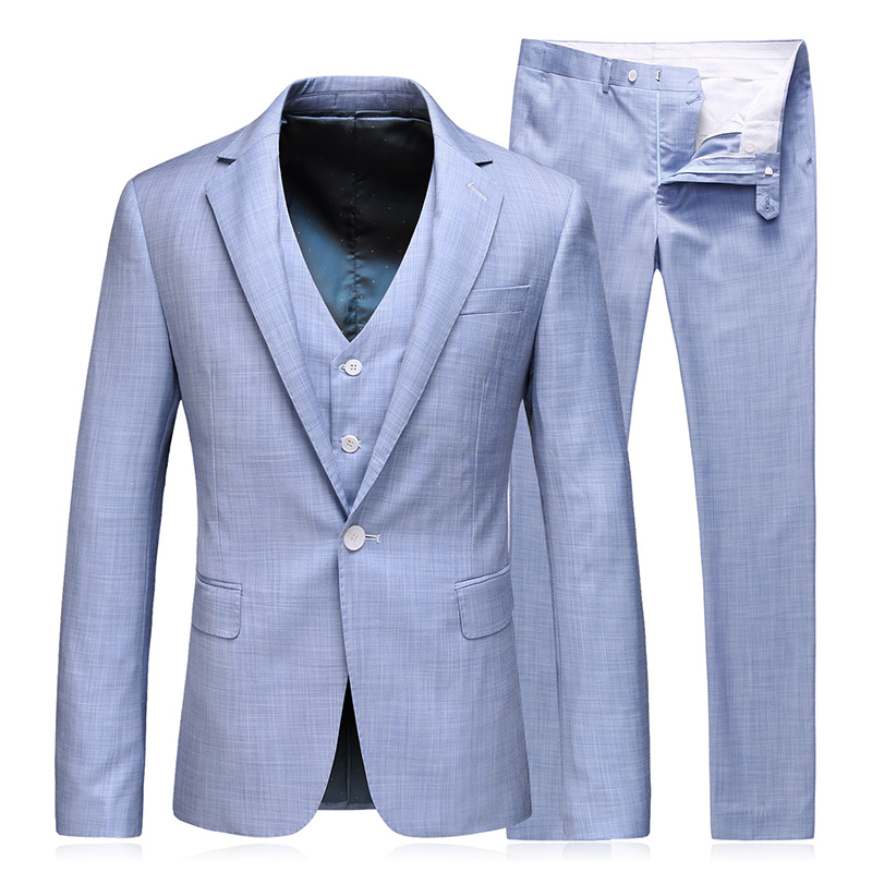 Tian Qiong Latest Coat Pants Design 100% Polyester Blue Herringbone Fancy Dress Wedding Tailor Jacket Groom Suit Men's