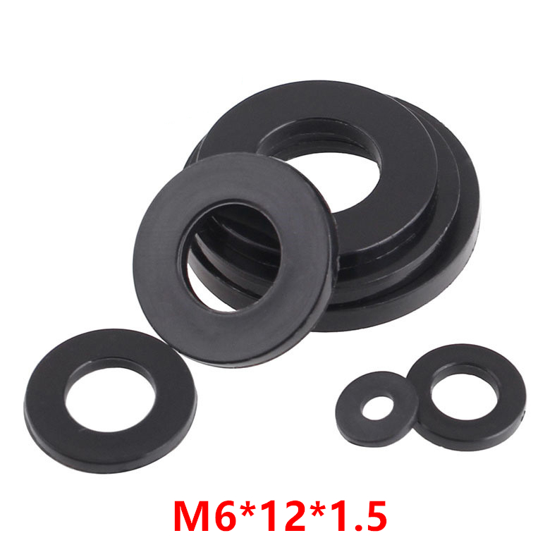 1000pcs M6*12*1.5 Black Nylon Flat Washer DIN125 Plastic Plated Seals Washer Ring Gasket Spacer m6x12x1.5mm image