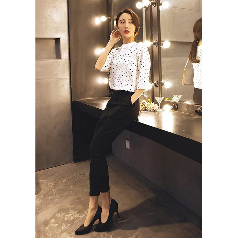 2017 Summer Spring Chiffon Las Trousers Office Fashion Style High