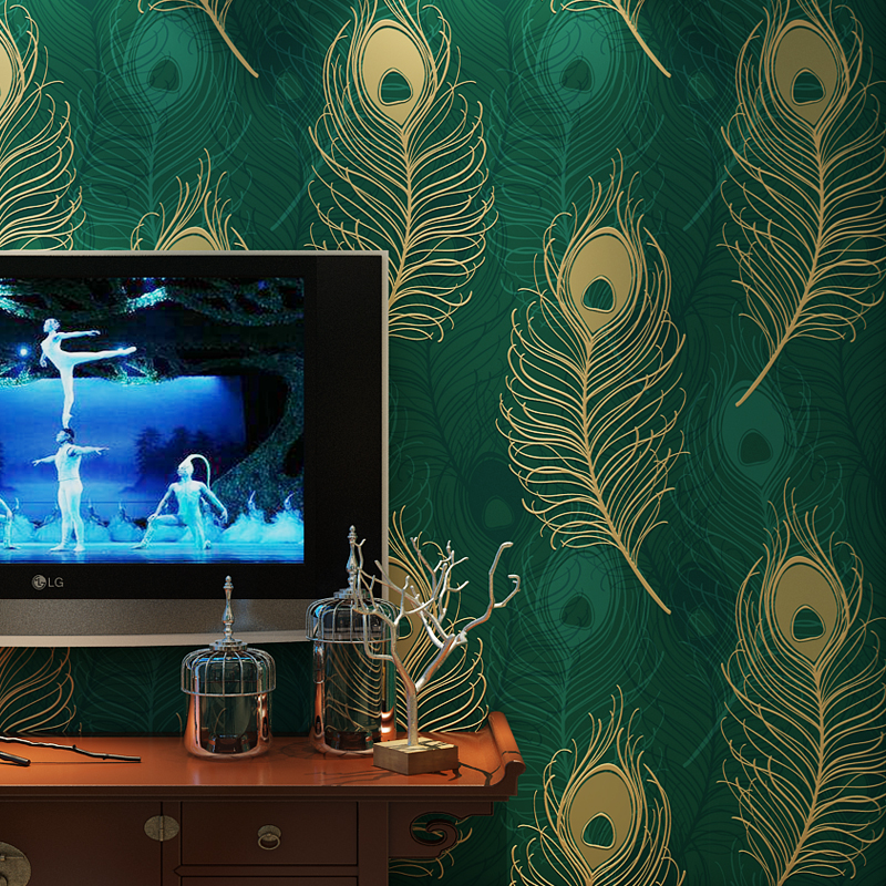Flocking Peacock-green Feather wallpaper Rolls for Living room 3d wall paper Roll Background 3d wallcoverings 3d Papel de parede 3d papel de parede 3d wall panels wallpaper rolls 3d wood wallpaper for babershop cafe bar 3d stripe wall paper roll decor