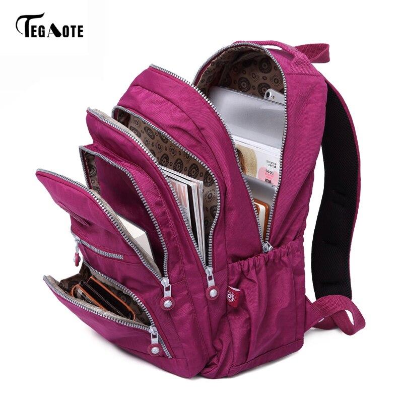 TEGAOTE школьный рюкзак для девочек-подростков Mochila Feminina женские рюкзаки нейлоновый водонепроницаемый повседневный рюкзак для ноутбука женск...