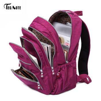 Tegaote escola mochila para a menina adolescente feminina mochilas náilon à prova dwaterproof água casual portátil bagpack feminino sac a fazer