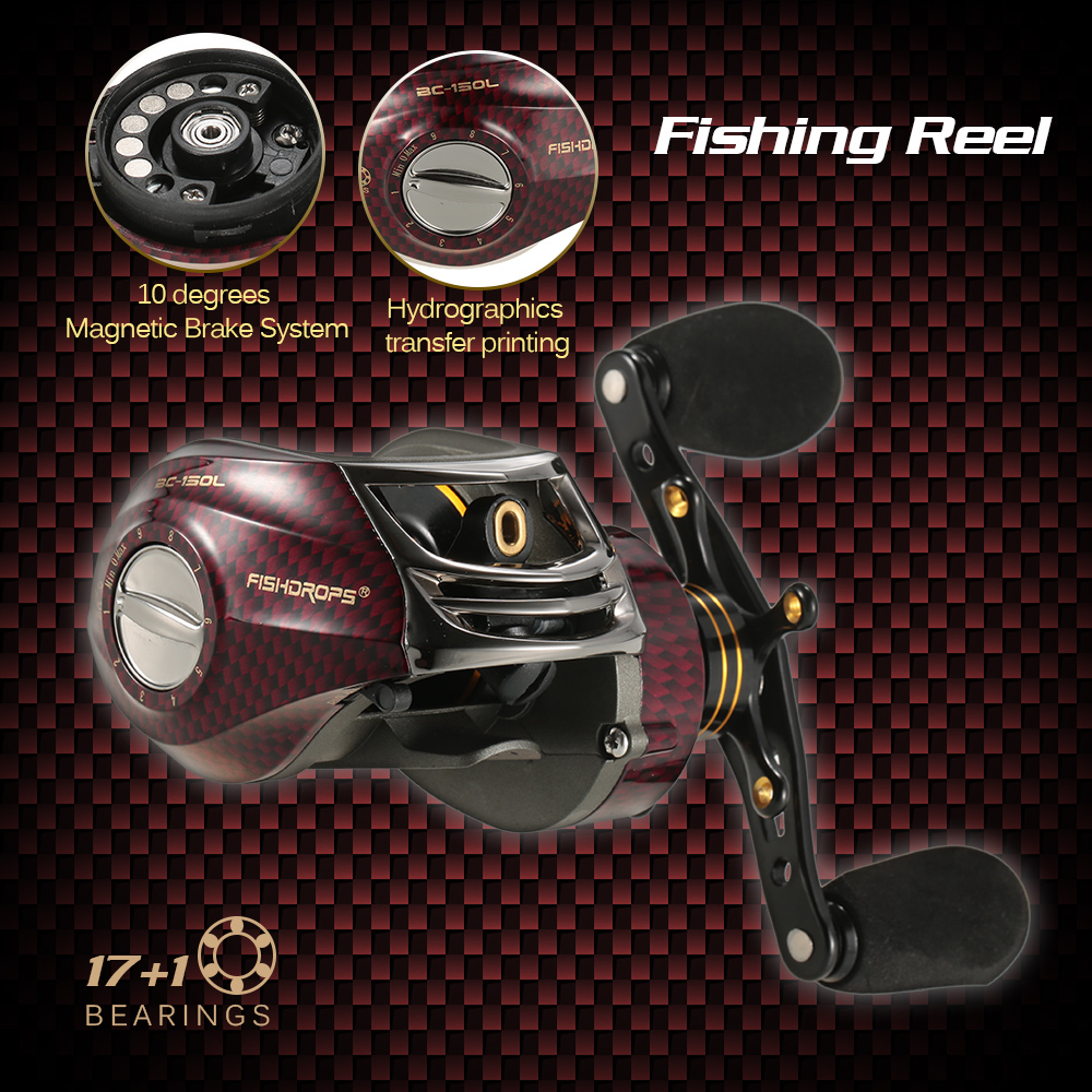 Fishidrops BC150 Carp Fishing Reel Baitcasting Reel Metal Spool Fishing Gear 6 3 1 17 1
