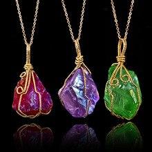 лучшая цена Irregular Natural Stone Crystal Quartz Necklaces&Pendants for Women Men Wire Wrapped Colorful Gem Stone Reiki Chakra Jewelry