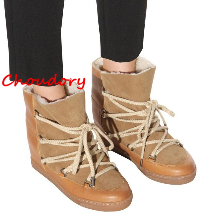 Choudory 2017 New Warm Fur Women Winter Boots Wedge Heels Tan Suede Leather Lace Up Women Snow Boots Round Toe Ankle Botas Mujer new top grade gift pure tan wooden type h chun tan mu shu h kuan