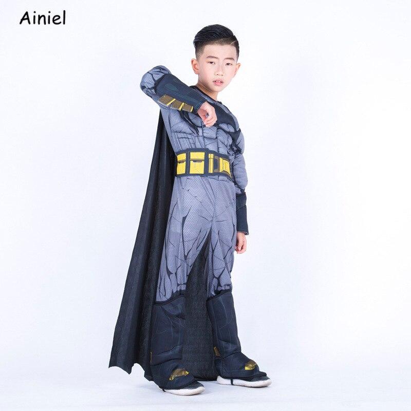 Batman Deluxe Muscle Costume Jumpsuit Superhero Halloween Costume American Captain Cosplay Party Fancy Dress for Boy Girls Kids