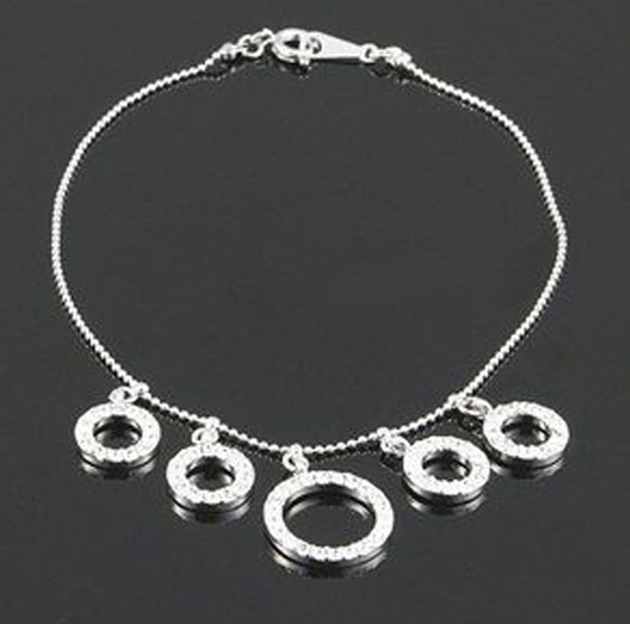 5 round crystal rings alloy anklet for women