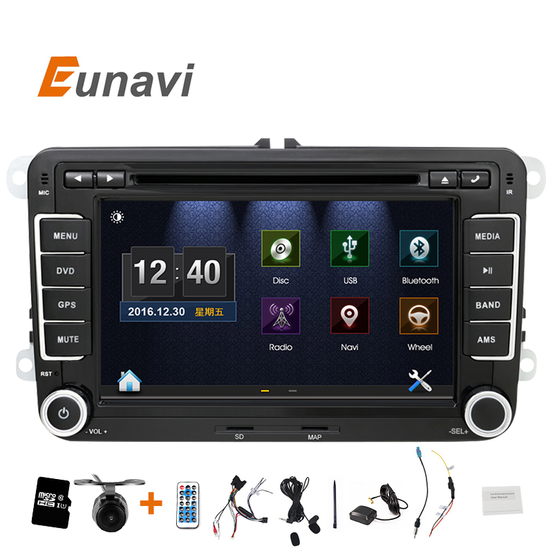 Eunavi 2 DIn Car DVD 7 HD For VW POLO GTI GOLF 5 6 MK5 MK6
