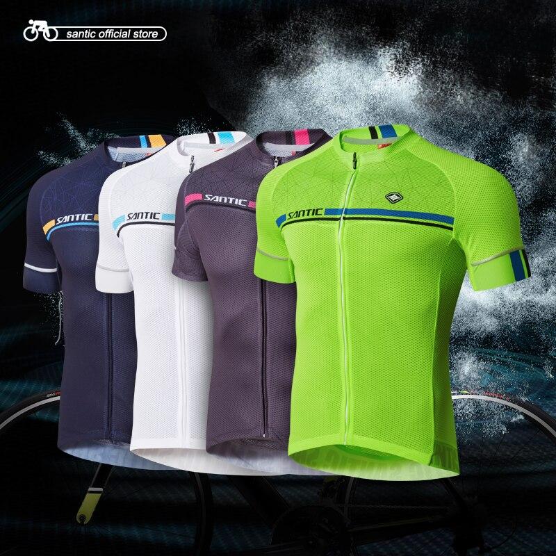 Santic Men Cycling Short Jerseys Pro Fit Antislip Sleeve Cuff Road Bike MTB Short Sleeve Cycling Clothings Four Colors C02107 oqsport men s fashionable dacron short sleeve cycling blazer black xl