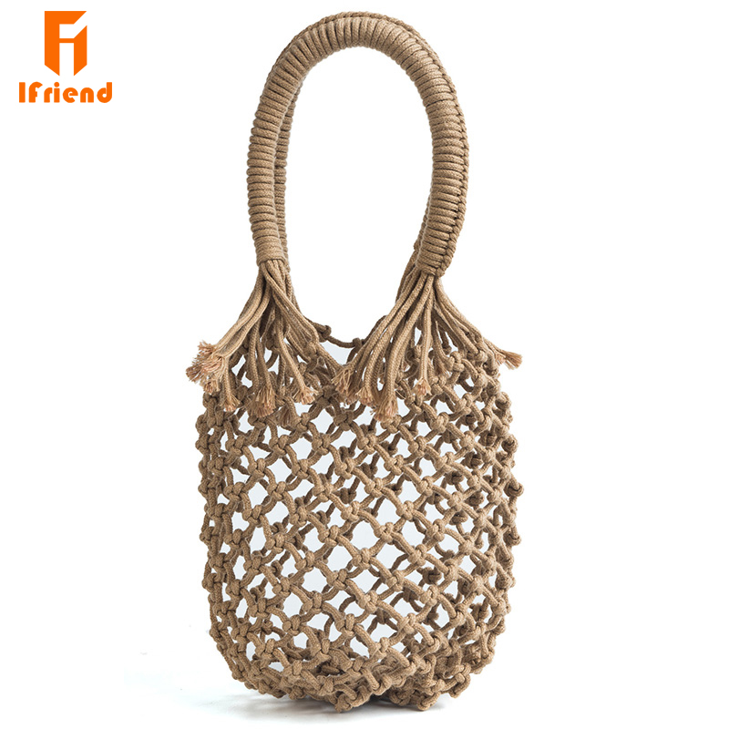 Ifriend fait main en coton corde évider tissé sac à main mode femmes sac à main sac de paille pour dames