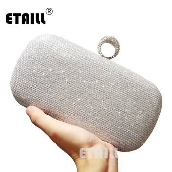 ETAILL Silver Golden Crystal Evening Clutch Bag Women Luxury Brand Bags Wedding Diamond Handbags Bridal Metal Clutches Bag