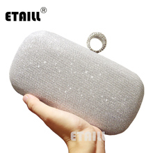 ETAILL Silver Golden Crystal Evening Clutch Bag Women Luxury Brand Bags Wedding Diamond Handbags Bridal Metal Clutches Bag xiyuan brand women crystal evening clutch bags diamond handbags wedding party purse rhinestones clutches luxury banquet wallet