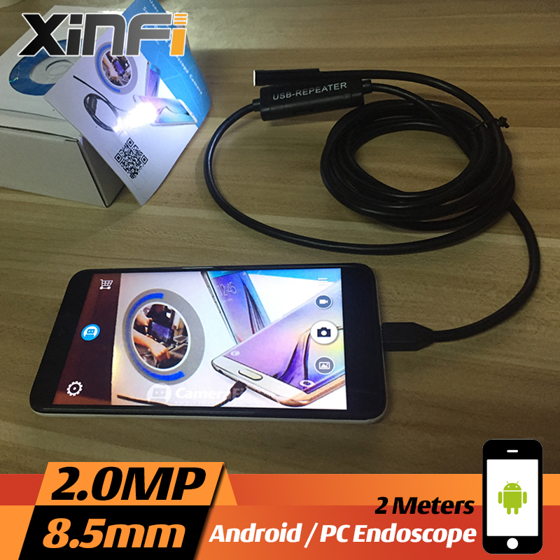 XINFICAM 8.5mm 2.0MP USB Android Endoscope 2M cable mini sewer pipe camera Borescope for OTG USB Snake Camera car inspection dhlfree wp71 50m sewer drain pipe inspection camera system 7 lcd video snake pipeline endoscope borescope underwater mini camera
