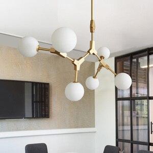 Image 4 - Nordic LED Chandeliers Glass Lighting Minimalist Molecular Chandeliers for Living Room Bedroom Bar Restaurant Lighting