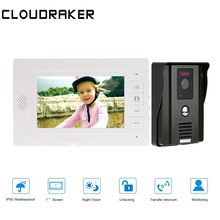 CLOUDRAKER 7 Inch Video Doorbell Intercom System 1x Monitor with 1x720P Wired Door Phone Camera vigtech home 7 video intercom door phone system with 1 golden monitor 1 rfid card reader hd doorbell camera free shipping