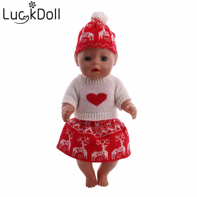 Luckydoll Thời Trang Con Búp Bê Nhỏ Giáng Sinh Ăn Mặc Dệt Kim Quần Lót cho 43 cm Búp Bê Sơ Sinh Phụ Kiện Trẻ Em 'Quà Tặng Tốt Nhất