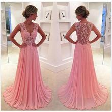 Vestidos De Festa Long Lace Prom Dress 2017 Modest V-Neck A-Line Chiffon Imported Party Dresses Chiffon Formal Evening Gowns