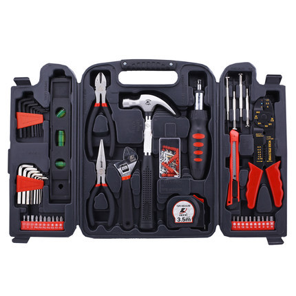 129PCS/set Household Hardware Combination Tool Box Carbon Steel Ratchet Screwdriver Tools Sets For Mechanics 82 sets of household tool set hardware kit box set without a flashlight