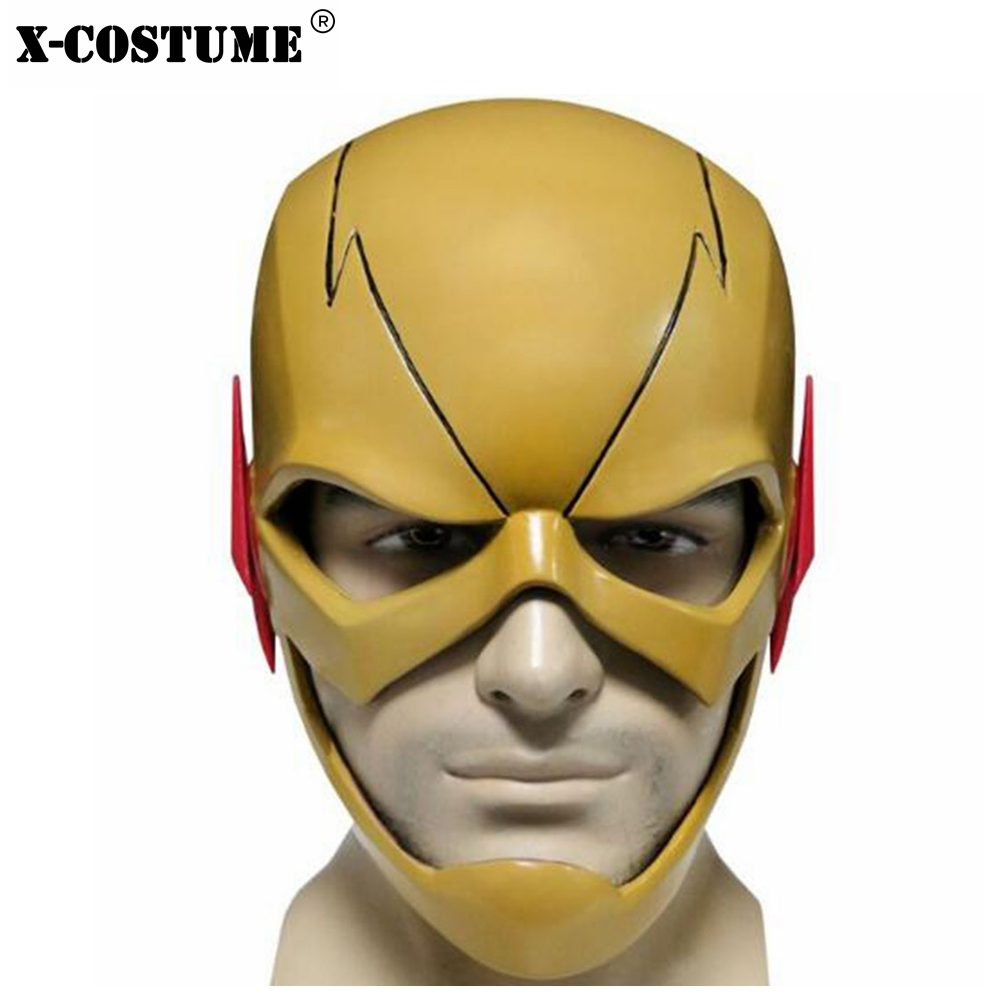 The Flash Eobard Thawne Yellow Full Head PVC Helmet Face Mask TV Cosplay Costume Props Halloween Festival Party Masks For Adult
