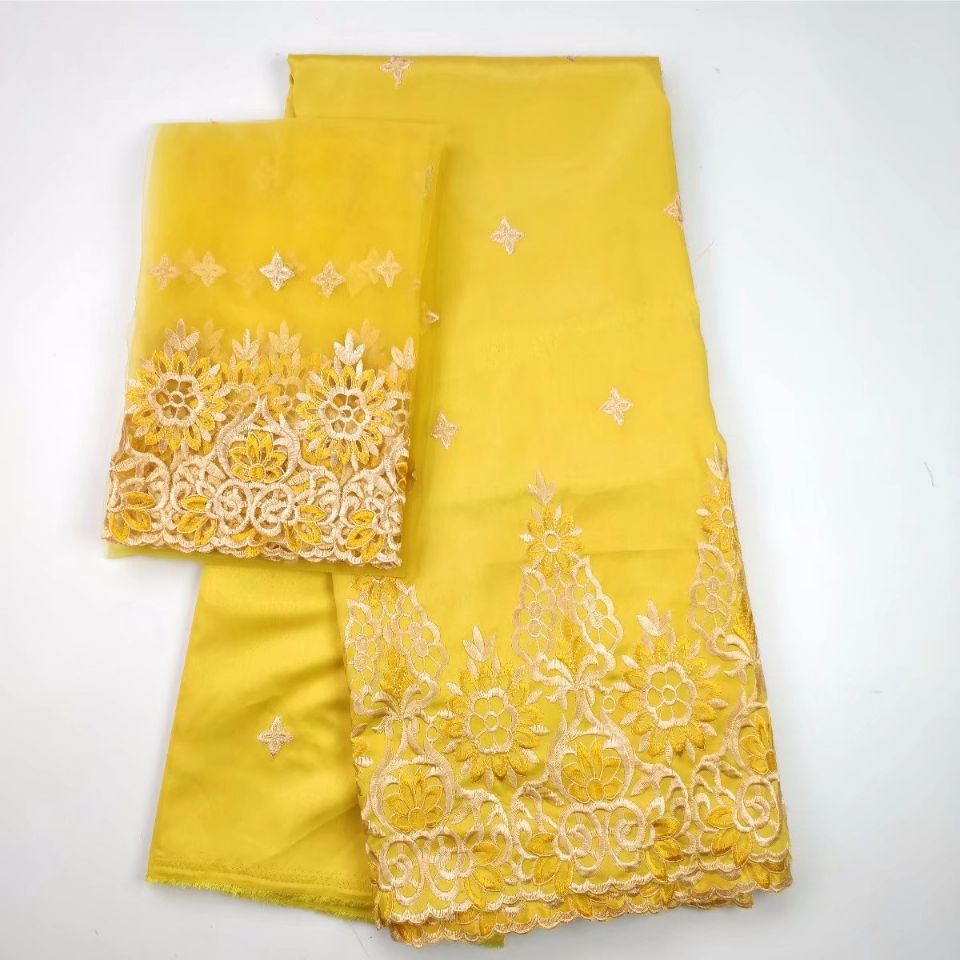 5 Yards Nice looking yellow african George lace fabric match 2yards french net lace embroidery set for clothes WH4 3 Lace     - title=