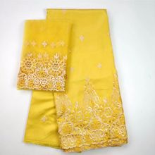 5 Yards Nice looking yellow african George lace fabric match 2yards french net embroidery set for clothes WH4-3