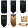 1 unids negro 55 cm recta extensión del pelo Hairpiece Clip en pelo sintético Tic Tac bulto del pelo falso pelo con Clips