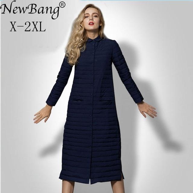 NewBang מותג החורף ארוך נשים למטה מעיל המשאף מעיל קל במיוחד למטה מעיל נשים יחיד חזה מעיל רוח מעילים חמים