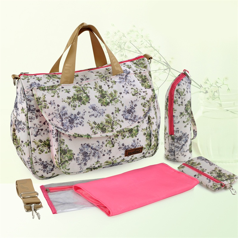 Insular Mother Maternity Mummy Diaper Nappy Flower Style Diaper Changing Shoulder Bag Waterproof Baby Stroller Bags Handbag insular 2017 new arrival fashion bohemian style mother bag baby nappy bags large capacity maternity mummy diaper bag 5pcs set