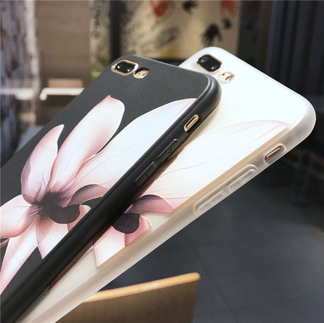 Lotus Flower Case Iphone 8 Plus Max Xr 3d Relief Rose Floral Phone X 7 6 6s 5 Se Tpu Cover