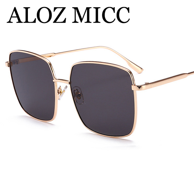 ALOZ MICC Fashion Hot Personality Square Sunglasses Women Luxury Designer Men Alloy Big Frame Vintage Sun Glasses UV400 Q163