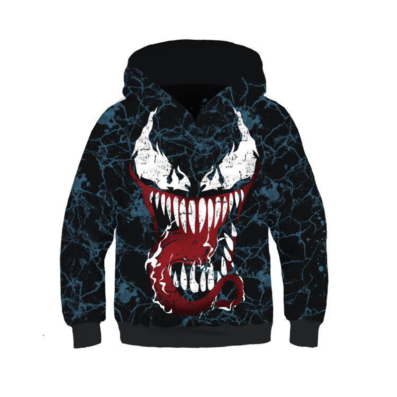 Kids Boys Girls Venom Carnage Cosplay Costumes Hoodie 3D Print Spiderman Hooded Sweatshirt Coat Tops Pullover