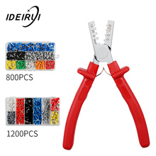 цена на 1200pcs Cable Wire Terminal Connector with Hand Ferrule Crimper Plier Crimp Tool Kit Set AWG 10-23
