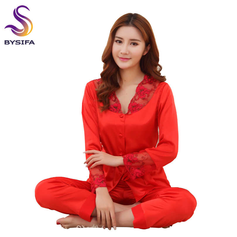 fd36aaf537 BYSIFA Summer Silk Satin Women Pajamas Sets Chinese Style Red Embroidery Bride  Pajamas Set Spring Autumn