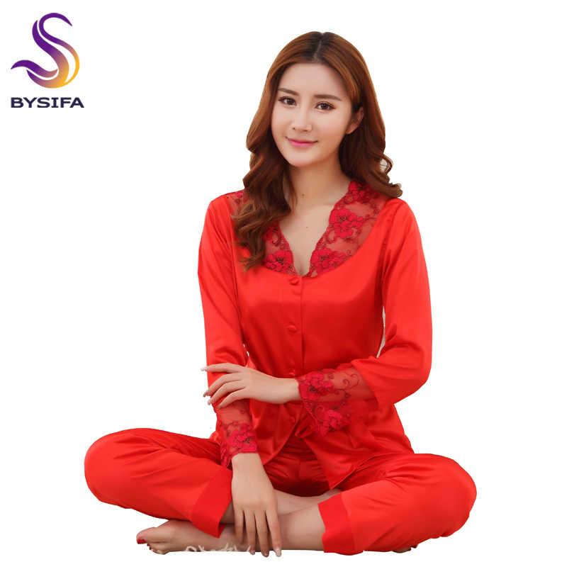 BYSIFA Summer Silk Satin Women Pajamas Sets Chinese Style Red Embroidery Bride  Pajamas Set Spring Autumn 92f3eff31
