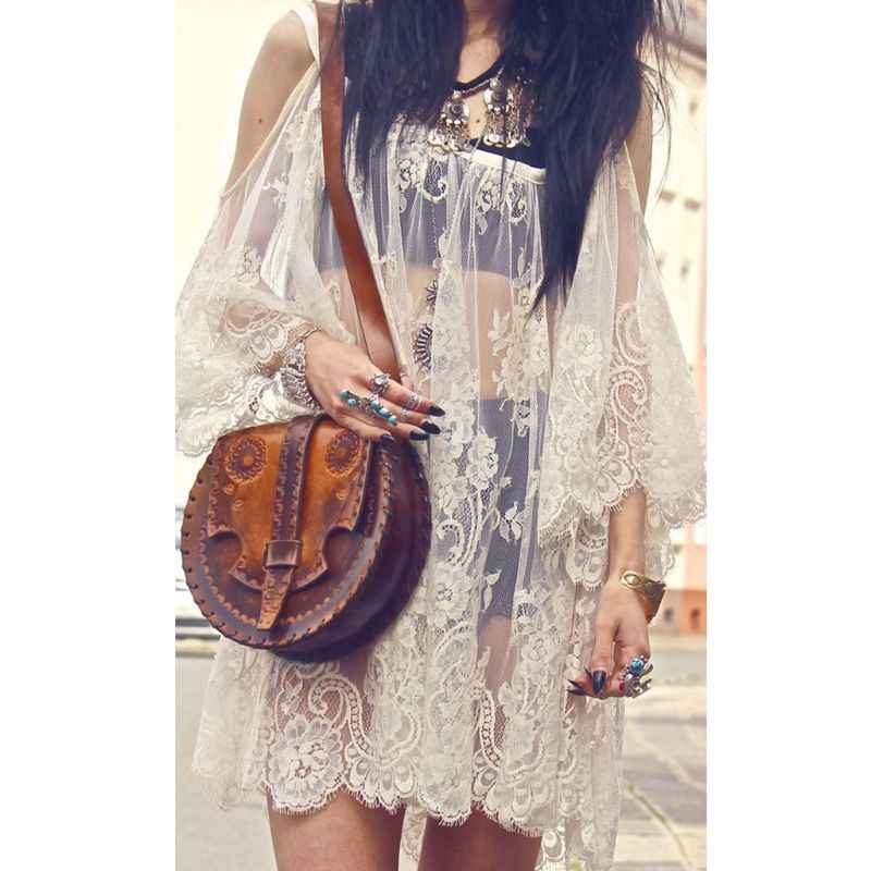 Женское летнее сексуальное с открытыми плечами, прозрачное кружевное бикини с цветочным принтом, свободный с короткими рукавами, мини-платье, однотонное нижнее белье, пляжная одежда