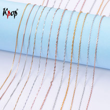 Kpop 925 Sterling Silver Chain Necklace Simple Minimalist Jewelry Rose Gold Color Box Wave Rope Chain for Women 18