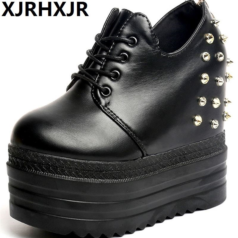 Fashion Brand Spring Autumn Women's High Platform Shoes Height increasing Shoes Thick Sole Trainers Lady Shoes black White 13CM height increasing spring autumn new canvas female women s platform shoes full black fashion shoes