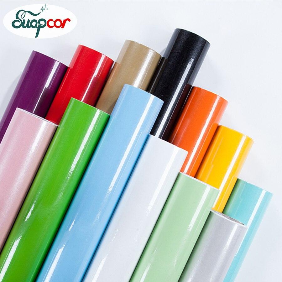 Glossy PVC Decorative Film Self adhesive Wallpaper Modern Furniture Renovation <font><b>Stickers</b></font> Kitchen Cabinets Waterproof <font><b>Wall</b></font> paper