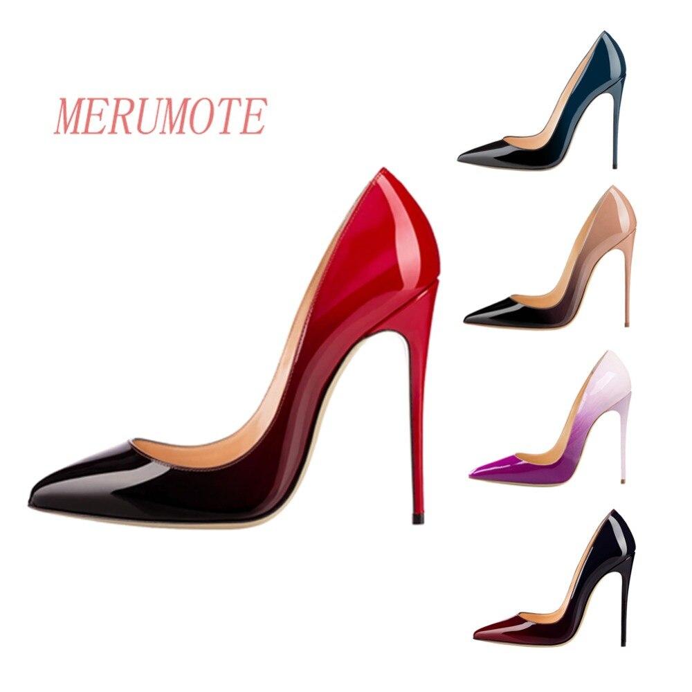 5bfa64d2d52 MERUMOTE Women's Pointed Toe Thin Stiletto Fashion Gradient Manmade ...