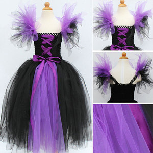 Image 3 - Юбка пачка Maleficent of evil queen для девочек, платье с рожками, костюм ведьмы на Хэллоуин для косплея для девочек, Детские праздники