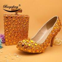 BaoYaFang 2018 Новое поступление Роскошные Оранжевый Кристалл женская обувь женские Вечерние обувь и сумки модные свадебные туфли с Сумочки в ком
