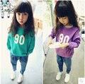 New fashion  female child baby digital print fashion all-match sweatshirt long-sleeve T-shirt fleece