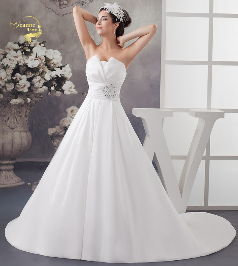 Vintage Simple Cheap Strapless Wedding Dresses Crystal