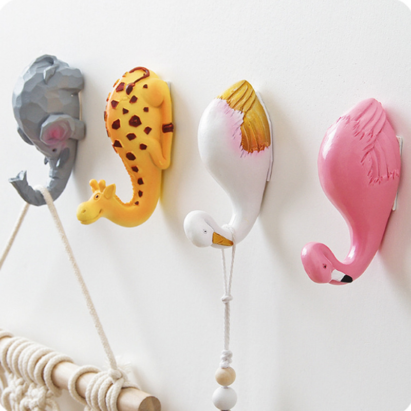 Elephant Kitchen Flamingo European-style Resin Animal Key Holder Wall Creative Coat Hooks Wall Decoration Hook No Trace Hook